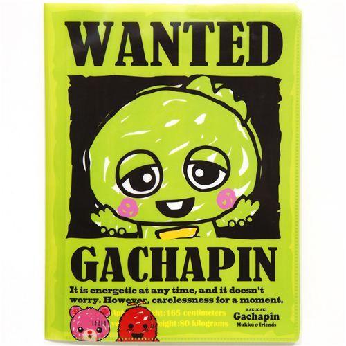 A4 plastic file folder 10-pocket green monster kawaii  cute folder with green monster Gachapin and 10 pockets to flip through