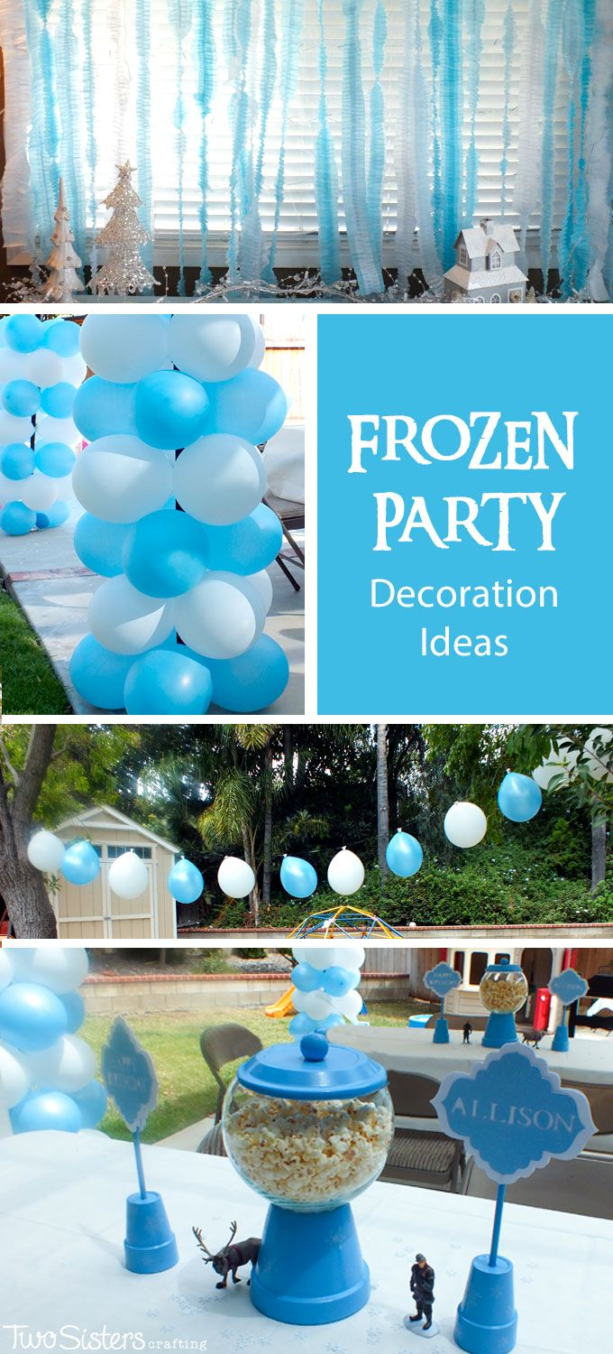 Do you need Disney Frozen Party Decoration Ideas? We have them here including Frozen Birthday Party centerpieces, balloons. water station and DIY ruffled streamers. And for more amazing Frozen Party Ideas follow us at http://www.pinterest.com/2SistersCraft/ #frozenparty