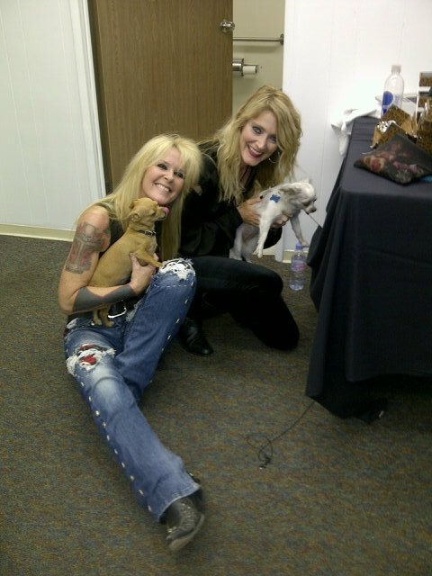 Lita Ford And Gabi Hughes With Lita S Pups Backstage In