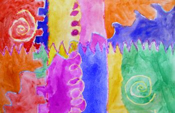 Kindergarten Art Lessons - this is a creation made from learning to draw different types of lines. It's crayon resist water color project. Though using oil pastel would probably be more vivid than crayons
