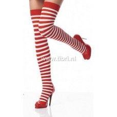 Mooie zelfophoudende rood / wit gestreept kousen. Leuke beenmode voor onder een kerstjurkje of kerstpakje van Tibri! Nu voor maar €7,95