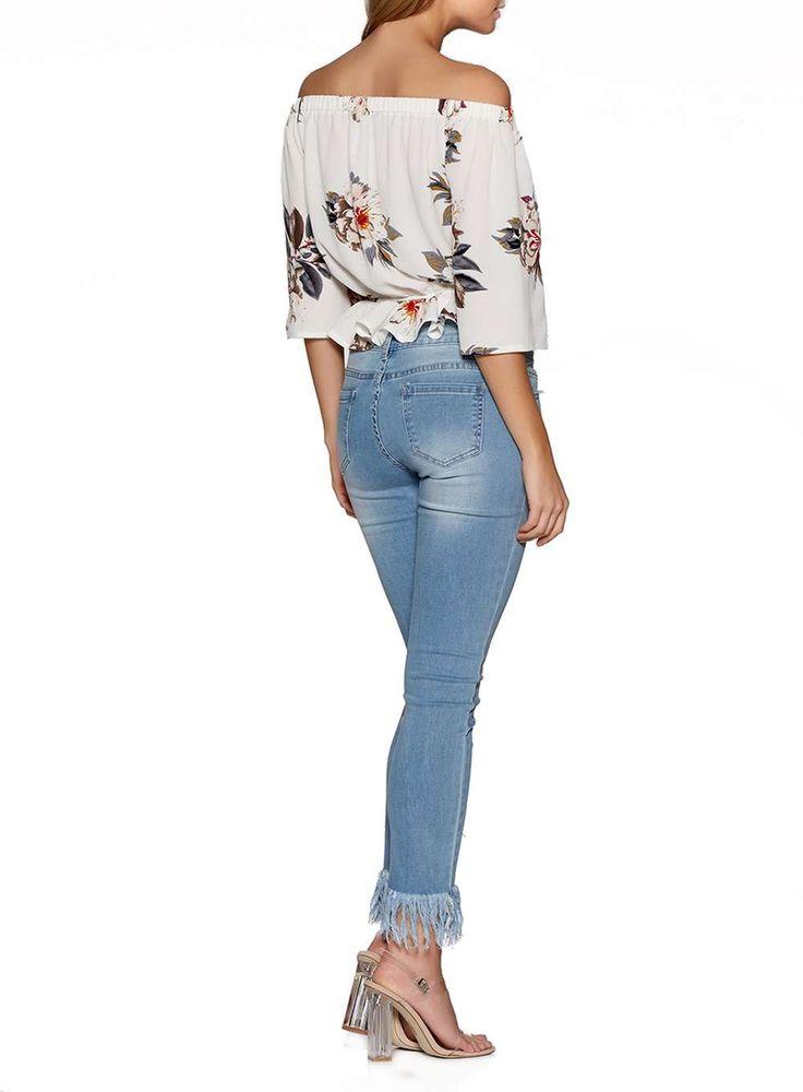 Womens *Quiz Ivory Crepe Floral Bardot Top- Cream