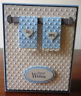 """Mr. & Mrs. Card (Maybe not use the """"dot"""" emboss for towels...possibly just a border of emboss on them)-Linda"""