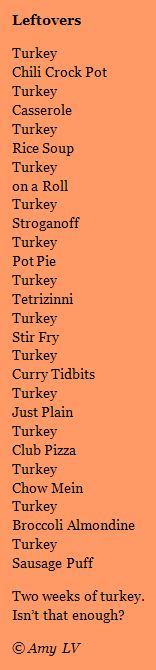 A poem about Thanksgiving leftovers - two ways.  A list poem lesson along with a lesson about revision.  See the first draft too!  From Amy Ludwig VanDerwater's ad-free, searchable blog, The Poem Farm, a site full of hundreds of poems, poem mini lessons, and poetry ideas for home and classroom - www.poemfarm.amylv.com.