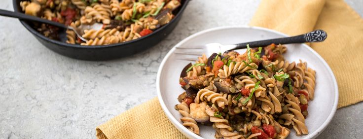 This modern ratatouille recipe is delicious with pasta and lentils. It cooks in the skillet, so you have a complete one-pan meal for dinner when it's done.