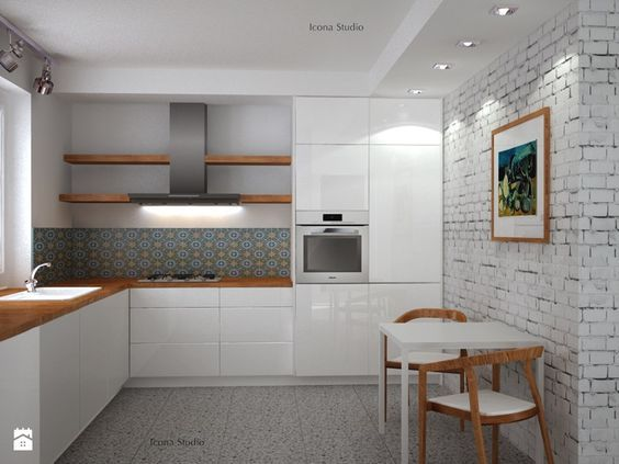 Kuchnia skandynawska - metamorfoza - Średnia otwarta kuchnia w kształcie litery l w aneksie, styl skandynawski - zdjęcie od Icona Studio