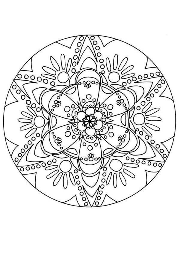 Tr s joli coloriage floral un mandala avec de jolies fleurs et des d tails qui rendent tr s - Coloriage fleur tres jolie ...
