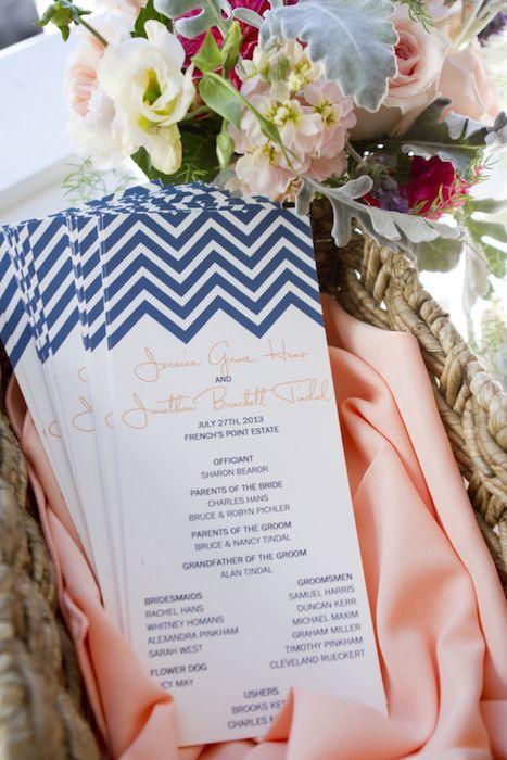 Coral and navy wedding programs. 15 Wonderful Wedding Programs on @intimatewedding #weddingprograms #weddingstationary #programs