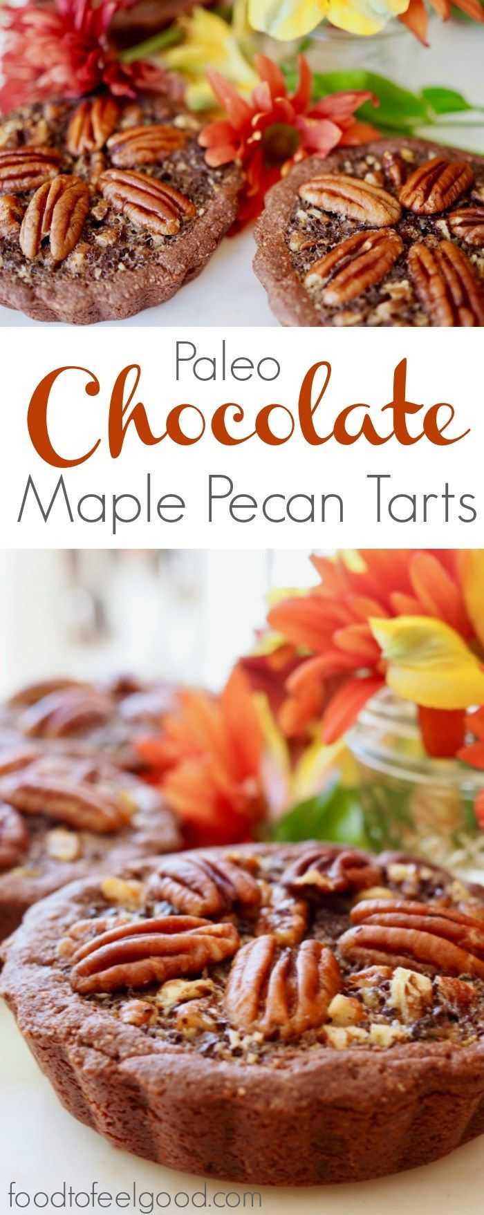 Paleo Chocolate Maple Pecan Tarts | These healthy, gluten-free, dairy-free treats are the perfect addition to your other holiday recipes. #paleo #glutenfree #dairyfree #christmascookies #dessert