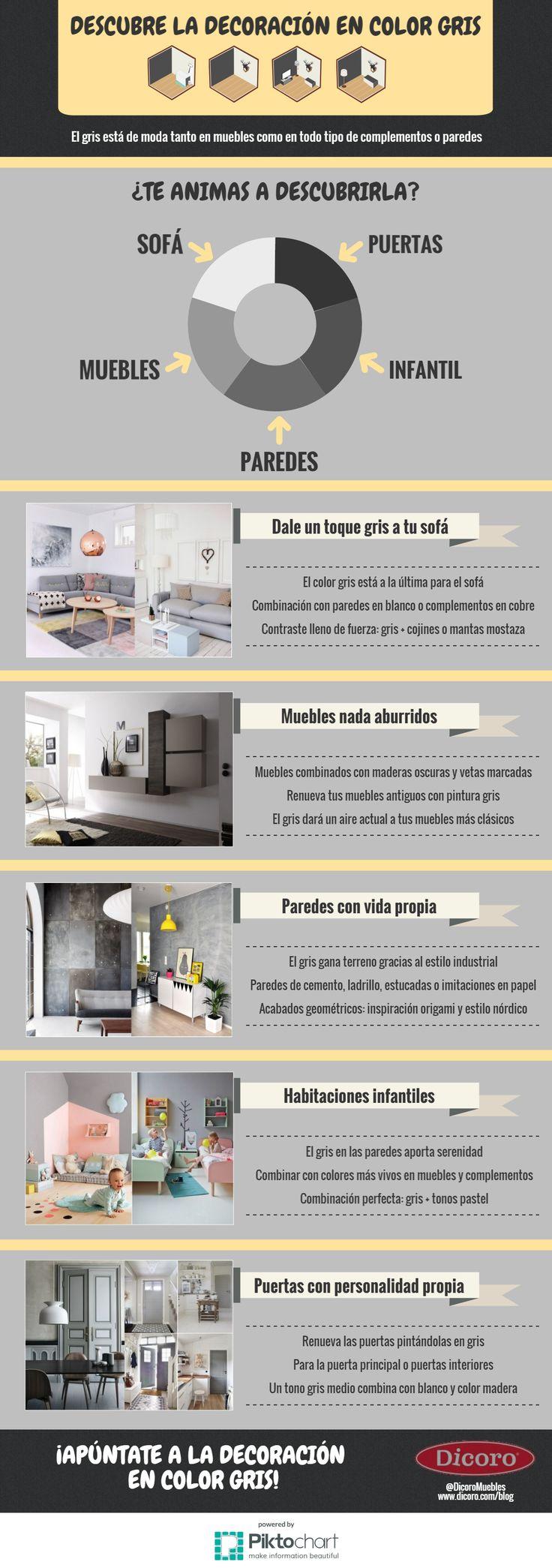 Descubre la decoración en color gris. #infografía