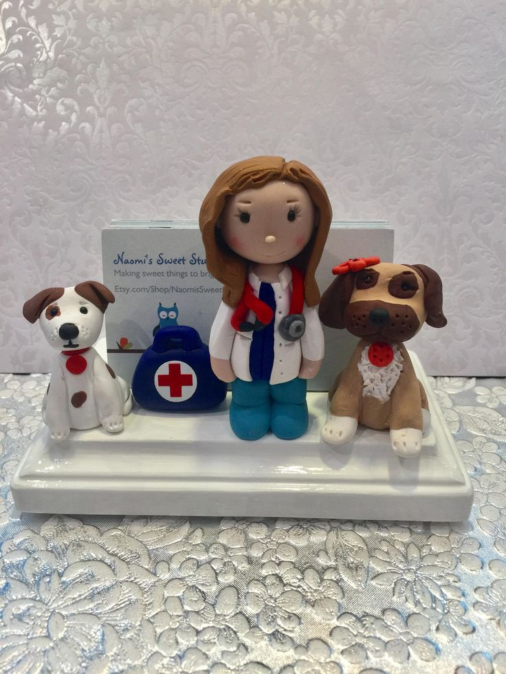 Veterinarian card holder,pet doctor,doggy doctor,business cards,polymer clay,desk accessories,desktop,handmade by NaomisSweetStuff on Etsy