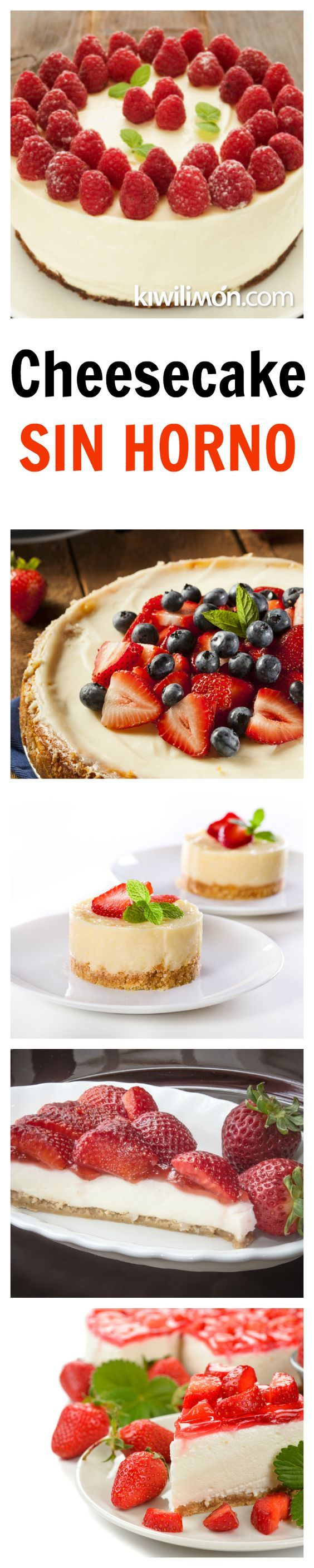 Esta rica receta de cheesecake no requiere de un horno ya que va congelado. Queda buenísimo decorado con frambuesas y acompañado de mermelada de fresas.: