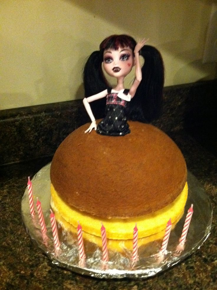 "Doll cake how big to make the doll fit? ""I baked according to directions but added an 8″ round pan base to help give it more height. (Those dolls are tall!!)"""