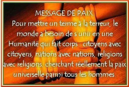 Message de paix....
