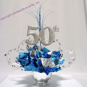 50th Cut Out used in a DIY Centerpiece Kit from www,awesomeevent.com. Can be ordered in any colors for your 50th Corporate or Wedding Anniversary Party table decorations. Also good for class reunions.