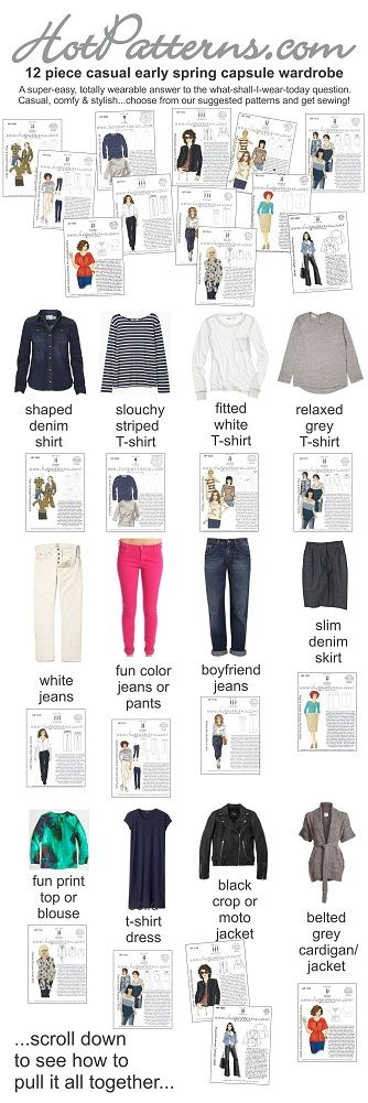 12 piece capsule spring wardrobe...use these patterns to create these garments!