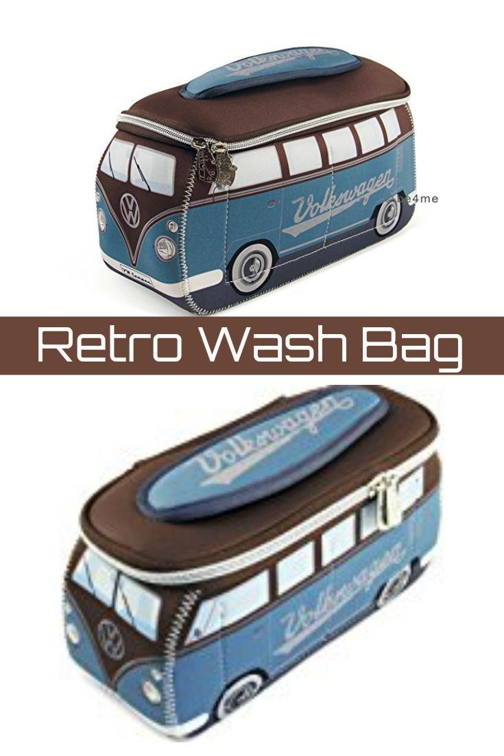0786f4a295fb Official VW Camper Van Waterproof Neoprene Mens Toiletry Wash Bag - Blue +  Brown  ad