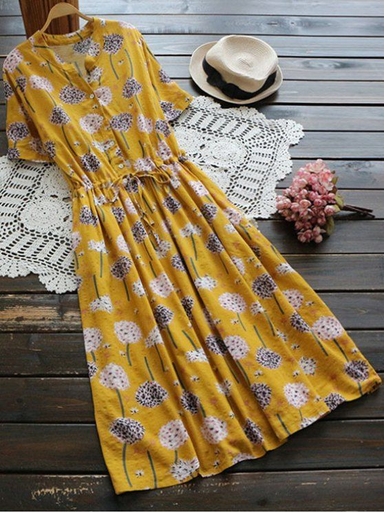 Flower Buttoned Drawstring Waist Shirt Dress - GINGER ONE ,Blue  Material: Polyester   Dresses Length: Mid-Calf   Collar-line: Shirt Collar   Sleeves Length: Short Sleeves   Decoration: Appliques,Sequins   Pattern Type: Floral   With Belt: No   Season: Su