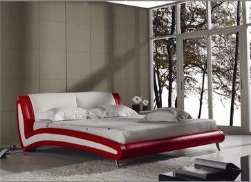 Akkor Red & White Leather Bed Frame modern-beds