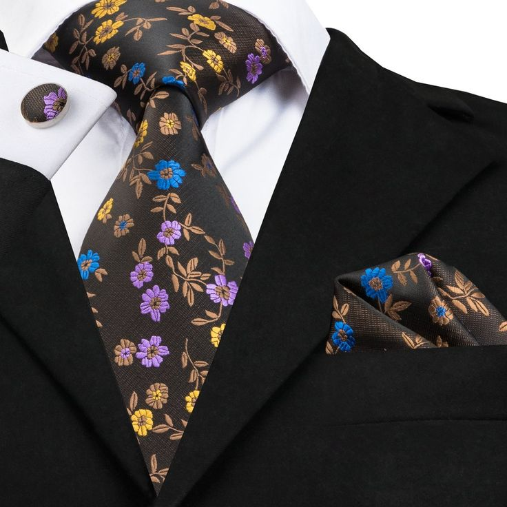 SN-1662 Hi-Tie Brown Floral Necktie Set Silk Jacquard Woven Tie Pocket Square Cufflinks Set for Mens Business Wedding Party