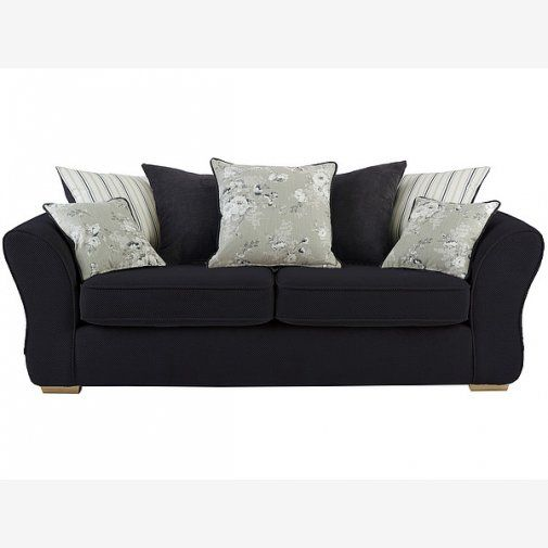 Chaise Sofa Clarissa Onyx Large Sofa with Pillow Back in Black With Rustic Oak Feet