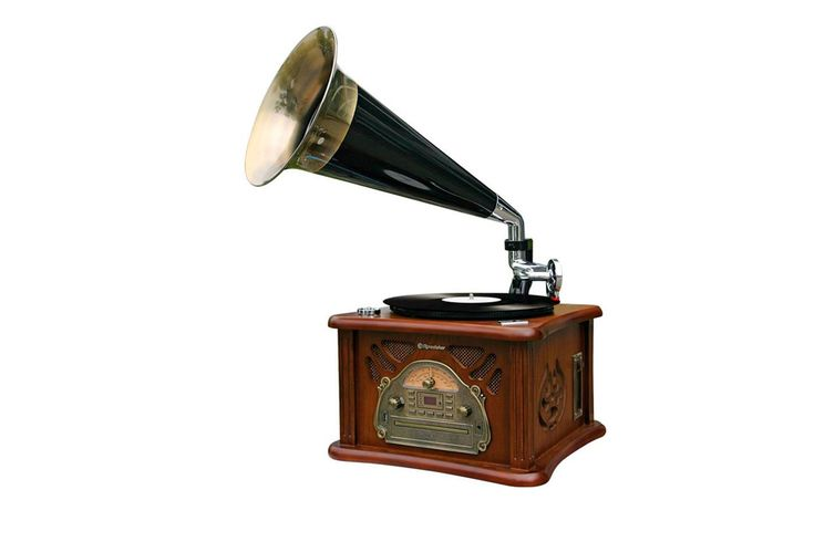 Venda Áudio Vintage / 33469 / Gira-discos / Gira-discos vinil, rádio, MP3, WMA, CD e USB vintage - Castanho