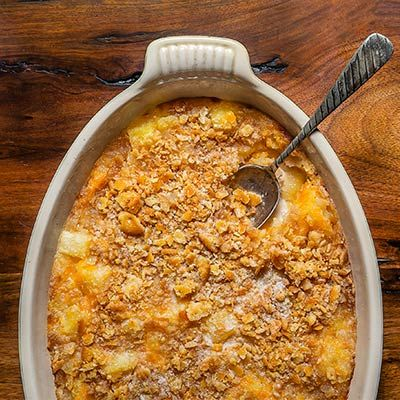 Our editor-in-chief shares a North Carolina Christmas classic dish she learned from her in-laws. Magic happens when canned pineapple, cheddar and Ritz collided.