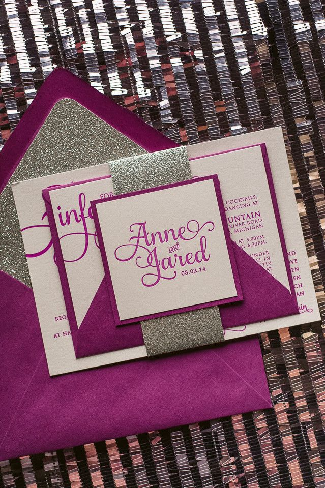 ADELE Suite Glitter Package, pantone 2014, radiant orchid, fuchsia, letterpress wedding invitations, silver glitter, glitter wedding invitations