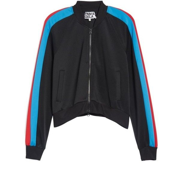 Women's Pam & Gela Crop Track Jacket (€185) ❤ liked on Polyvore featuring activewear, activewear jackets, black, track top, track jacket, tracksuit jacket and warm up jackets