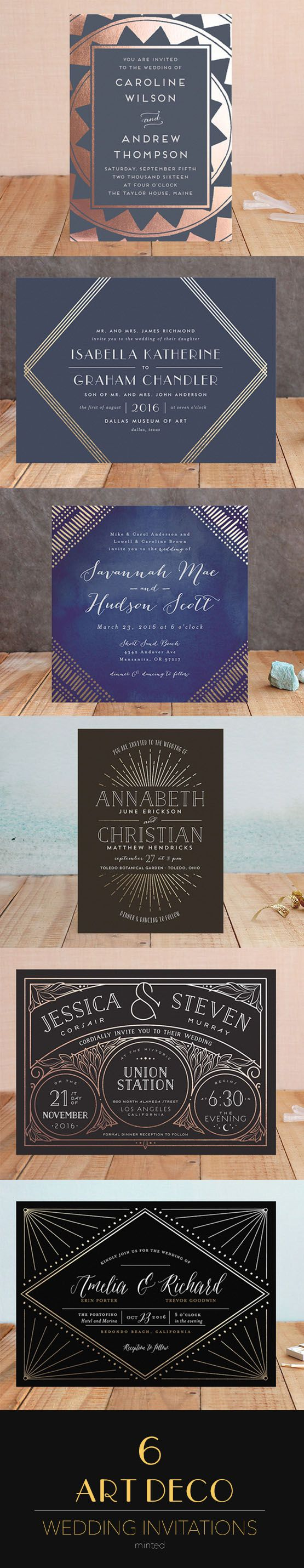 Black, Navy and Gold Wedding Invitations from Minted with a gorgeous art nouveau / art deco twist.