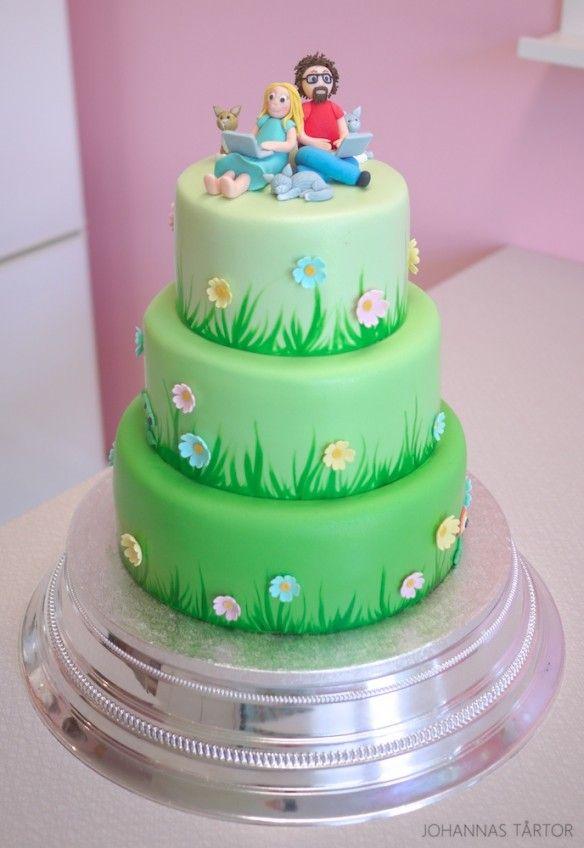 Grönskande bröllopstårta