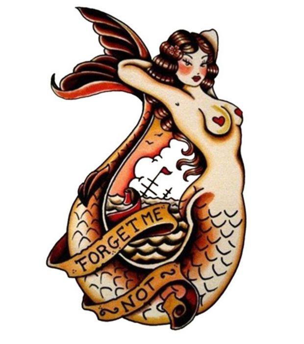 Idée de tatouage marin: une belle sirène en couleur