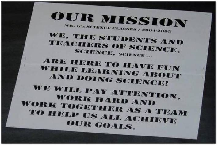 Classroom Business Ideas ~ Middle school science classroom mission statement