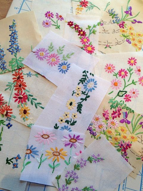 Salvage old embroidery from tablecloths and tray cloths. Love this idea!