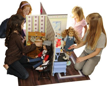 """American Girl DollHouse Four Room by itzPurple on Etsy  Dimensions: Floor mat 36"""" x 60"""", Long wall 48"""" x 24"""", Short wall 14"""" x 24"""" (when assembled, each room is 24"""" x 12"""", not including floor mat). Overall doll house wall area is 48″ x 24″ x24″ fully assembled. $85"""