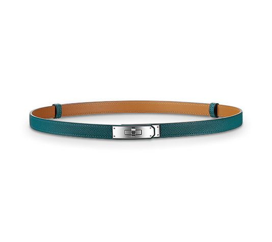 "Kelly Hermes women's leather belt in Epsom calfskin, Kelly buckle in palladium plated metal Width: 0.7""<br /><br />Thanks to a clever sliding system, this one-size-fits-most belt may be worn at the waist or on the hips.<br />"