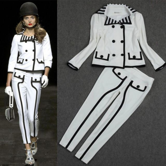 High Quality Women Luxury White Black 2 Pieces Stripe Coat And Trousers Set Ladies Office Elegant Suits Runway Clothing S37 US $89.90 /piece  Specifics Style	Casual Gender	Women Clothing Length	Regular Pattern Type	Geometric Closure Type	Double Breasted Material	Cotton Blends Dresses Length	Floor-Length Pant Closure Type	Elastic Waist Sleeve Length	Three Quarter  Click link to buy other product http://goo.gl/p8JMyk