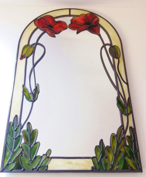 A Bespoke Art Nouveau Tiffany Style Inspired Poppy Arched Mirror Leaded Stained Gl Effect 20 X 40 Cm By Douglas Payn