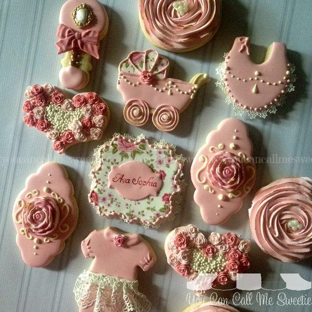 You Can Call Me Sweetie - pearl, rose and lace baby shower cookies