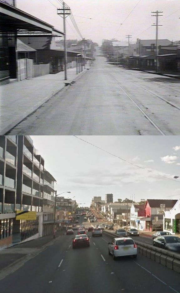 Bridge Street/Victoria Road, Drummoyne, looking towards Lyons Road in circa 1927 and 2014. [circa 1927 - State Library of NSW>2014 - Google Street View. By Phil Harvey]