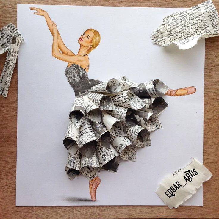 Newsprint dress by Edgar Artis