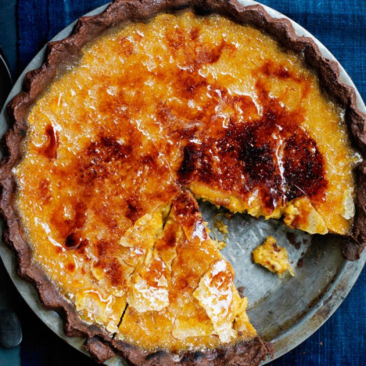 This chocolate and pumpkin mashup is surprising yet delicious. It's so good that you don't have to brûlée the top, though that effect surely makes the pie a showstopper.