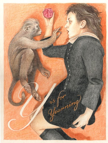 """Jennifer Linton, """"Y is for Yearning"""" from the book """"My Alphabet of Anxieties & Desires"""" (pub. 2010), coloured pencil on illustration board."""
