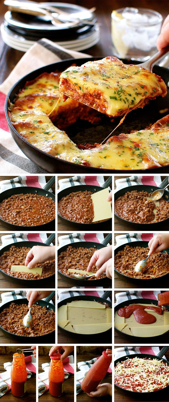 How to make a beef lasagna in one pan that has LAYERS in it! (Without removing any filling from the pan)