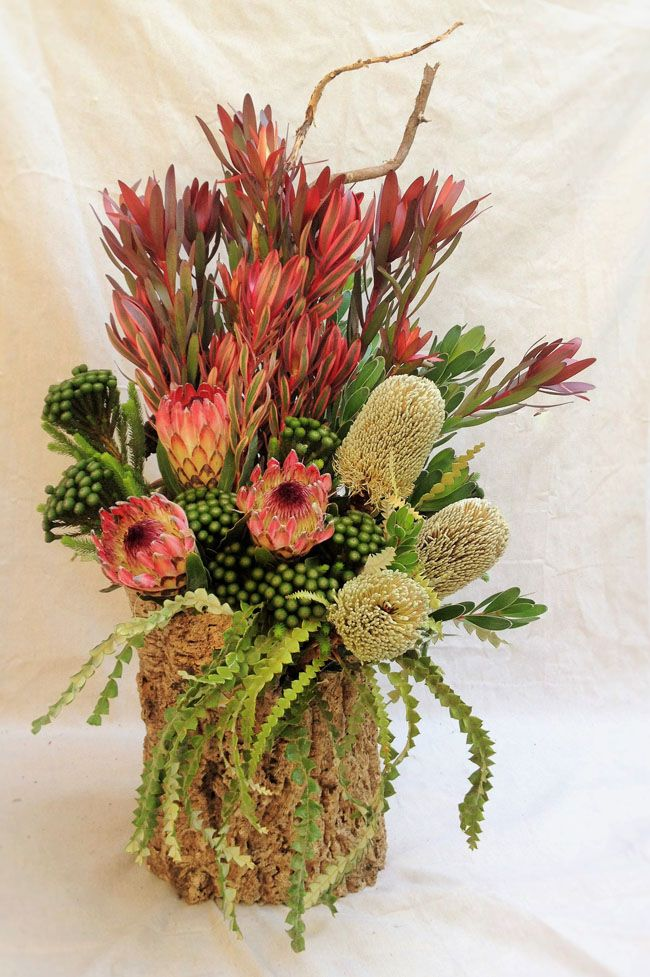 Fleurie, Reedley, California - Floral Design with proteas and banksia with brunia and leucadendron all from Resendiz Brothers