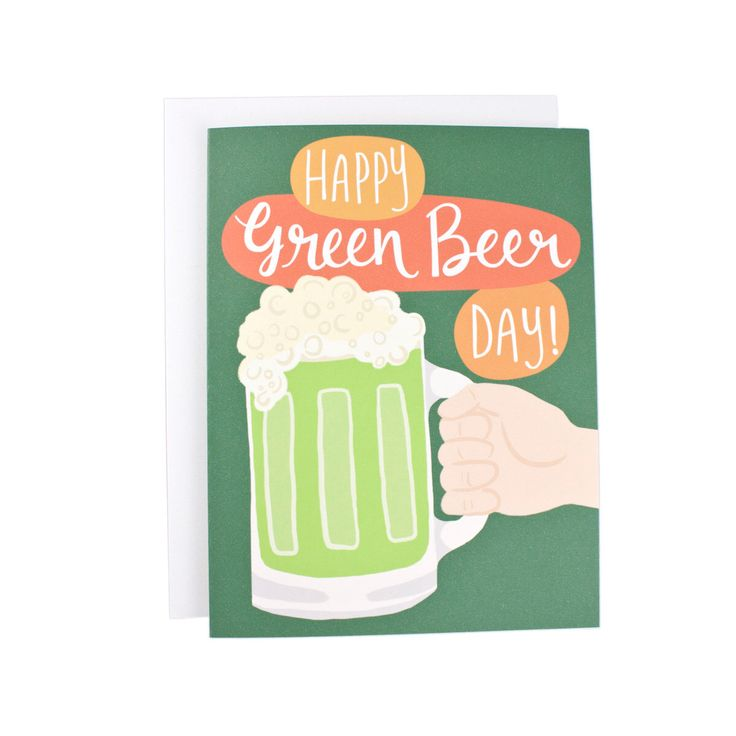 Happy Green Beer Day From greeting card, illustration, typography, funny card, St Patrick, St Patrick's Day by Wanderlust25PaperCo on Etsy https://www.etsy.com/listing/223650237/happy-green-beer-day-from-greeting-card