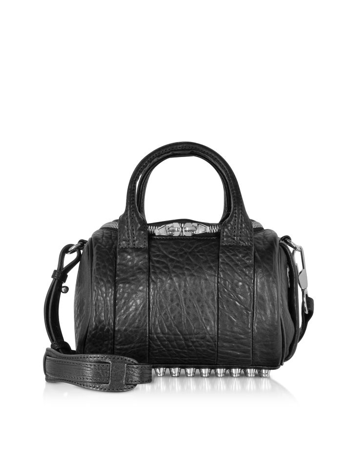 Alexander Wang Mini Rockie Black Pebbled Leather Satchel Bag at FORZIERI