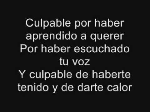 letra en pantalla de la canción culpable de Lagarto Amarillo.