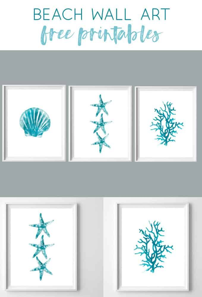 graphic relating to Printable Beach Pictures titled Seaside Wall Artwork No cost Turquoise Watercolor Beach front Printables