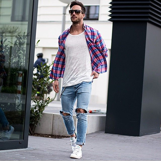 Casual men's outfit - white t-shirt, blue jeans, checkered shirt and sunglasses with white sneakers.   See the cities with the most handsome guys >>> checkered shirt
